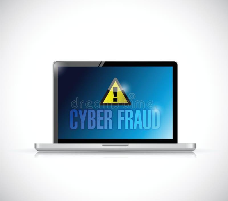 Conception d'illustration de signe d'ordinateur portable de fraude de Cyber illustration stock
