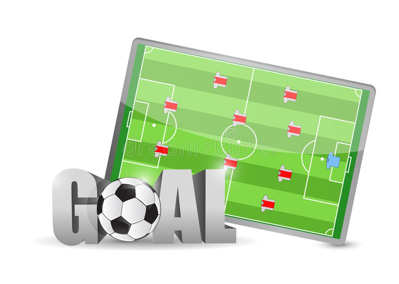 Conception d'illustration de signe de terrain de football et de but illustration stock