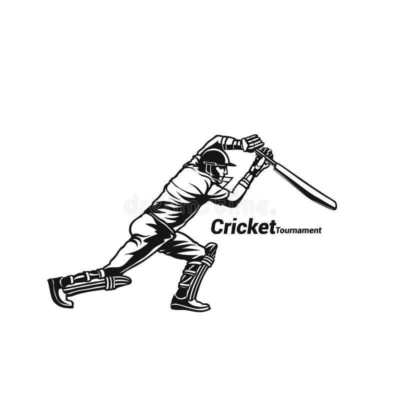 Conception d'illustration de vecteur de batteur de joueur de cricket illustration libre de droits