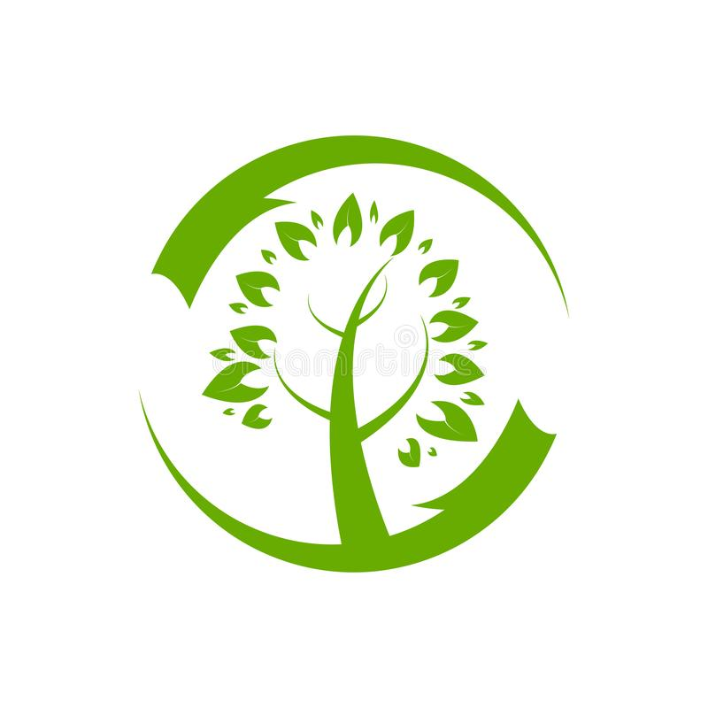 Conception d'illustration d'icône de vecteur de calibre de logo d'arbre généalogique illustration stock