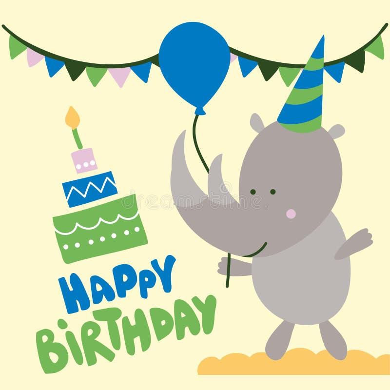 Conception d'impression de fête d'anniversaire de rhinocéros avec le texte illustration de vecteur