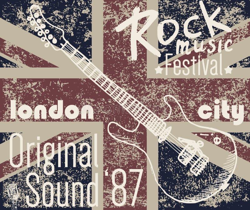 Conception d'impression de T-shirt, dessins de typographie, illustration de vecteur de festival de roche de Londres avec le drape illustration stock