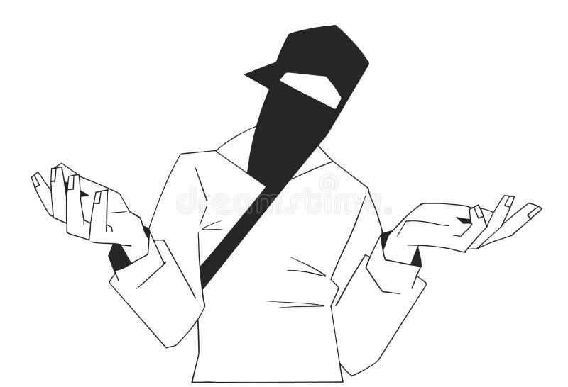 Conception d'impression de T-shirt de jeune membre à capuchon de bande illustration de vecteur