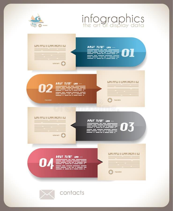 Conception d'Infographic - étiquettes de papier original illustration stock