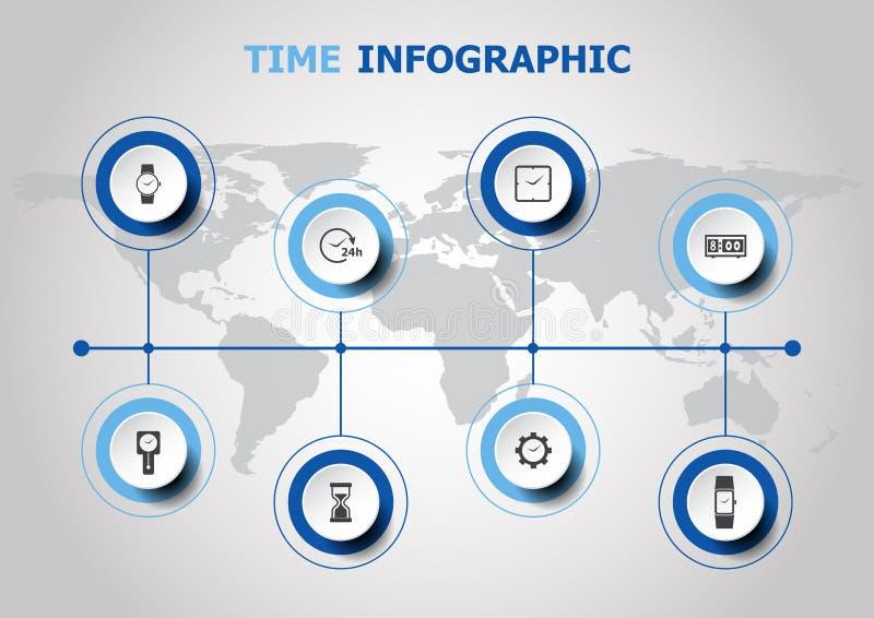 Conception d'Infographic avec des icônes de temps illustration de vecteur