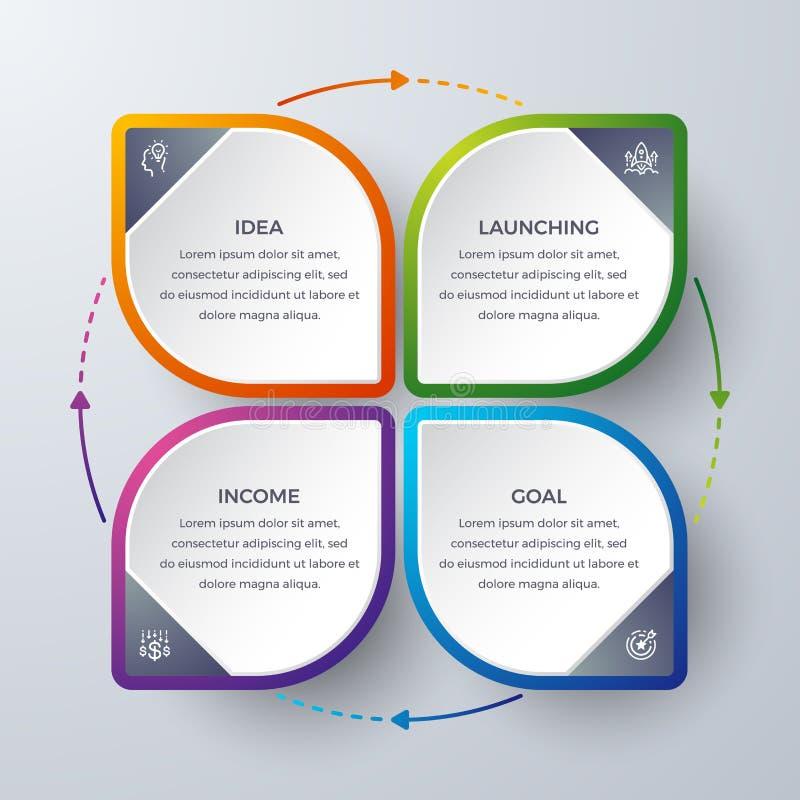 Conception d'Infographic avec 4 processus ou étapes Infographic pour le diagramme, rapport, déroulement des opérations et plus In illustration stock