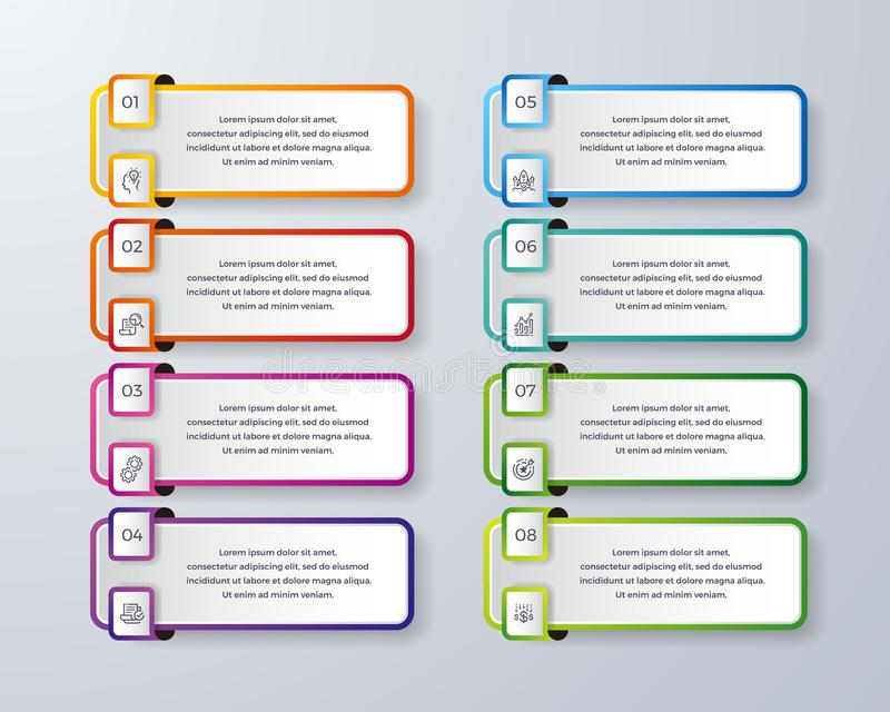 Conception d'Infographic avec 8 processus ou étapes Infographic pour le diagramme, rapport, déroulement des opérations et plus In illustration stock