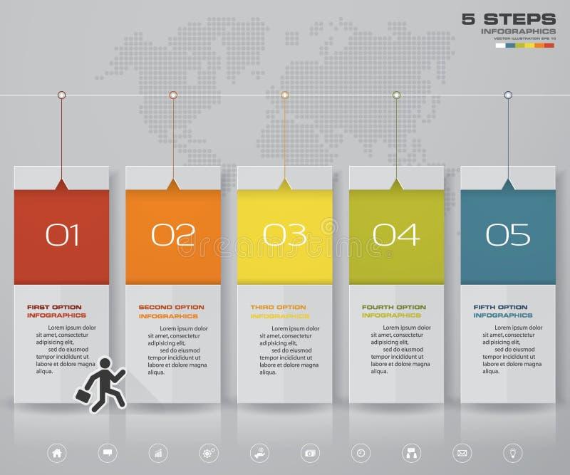 Conception d'Infographics avec la chronologie de 5 étapes pour votre présentation illustration de vecteur