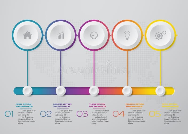 Conception d'Infographics avec la chronologie de 5 étapes pour votre présentation illustration stock