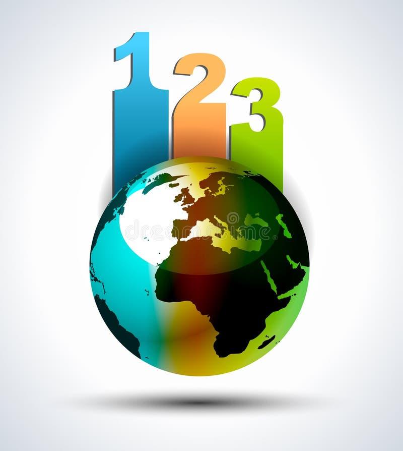 Conception d'Infographics avec le globe 3d illustration stock