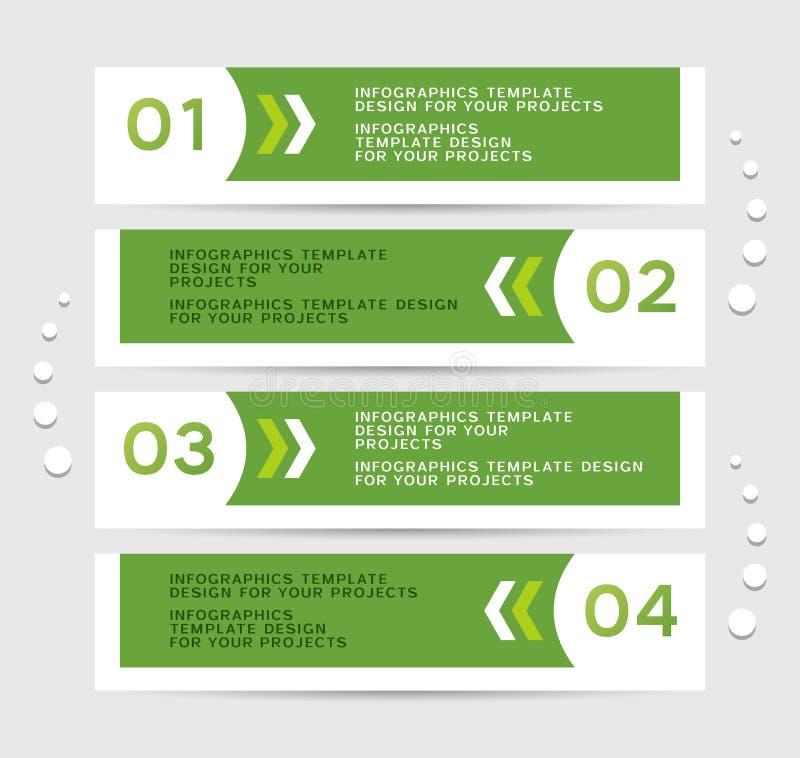 Conception d'Infographics avec les bannières vertes illustration libre de droits
