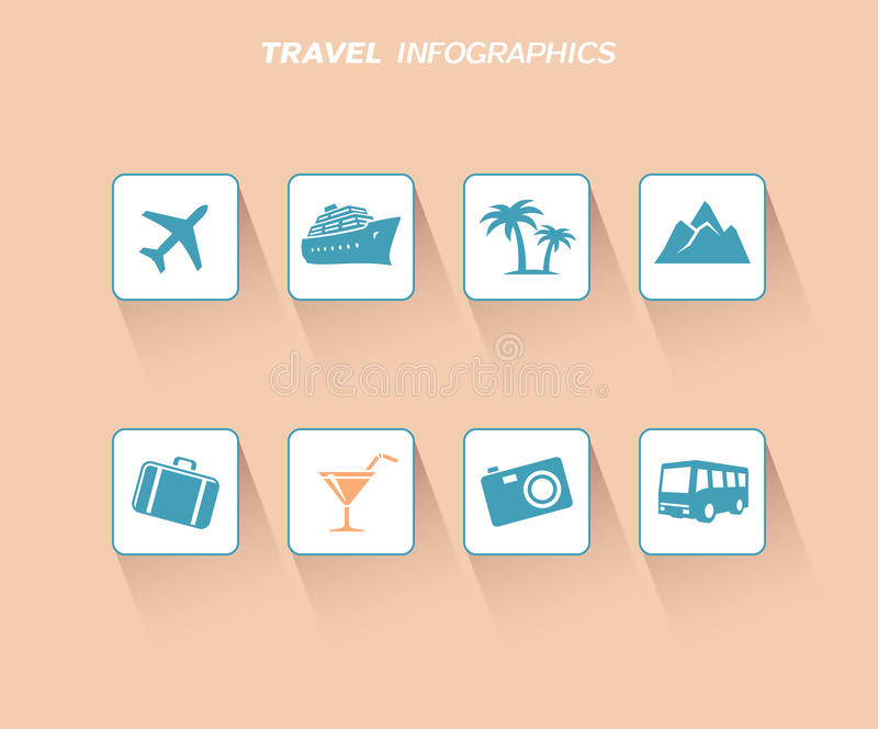 Conception d'infographics de voyage avec les icônes plates illustration libre de droits