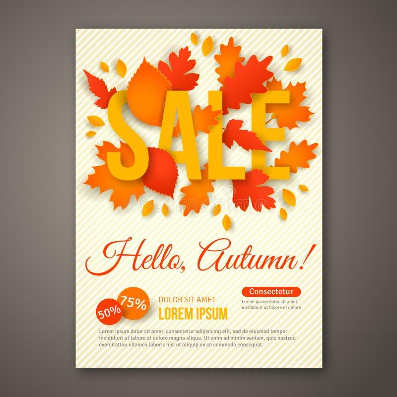 Conception d'insecte d'Autumn Sale avec les feuilles colorées illustration stock