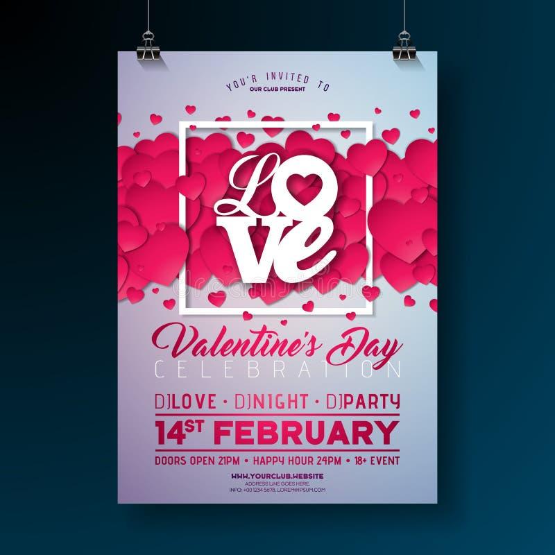 Conception d'insecte de partie de jour de valentines de vecteur avec la lettre de typographie d'amour et coeur sur le fond propre illustration de vecteur