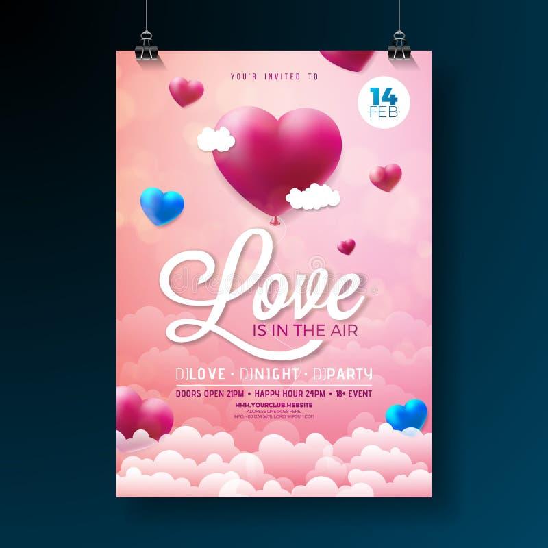 Conception d'insecte de partie de jour de valentines de vecteur avec la typographie et coeur de ballon sur le fond de nuage L'amo illustration stock
