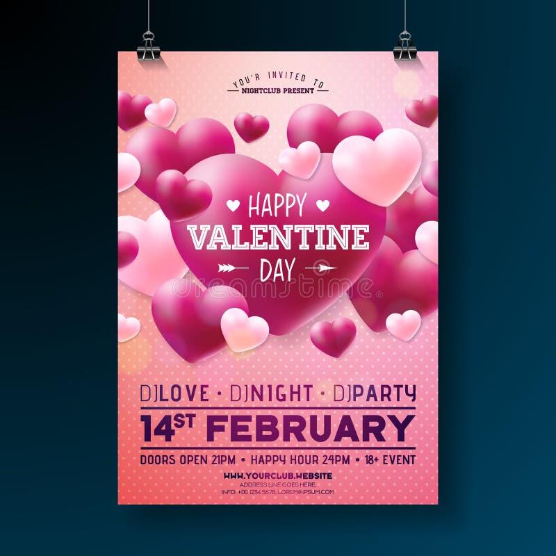 Conception d'insecte de partie de jour de valentines de vecteur avec la typographie et coeur sur le fond rouge Calibre d'affiche  illustration stock