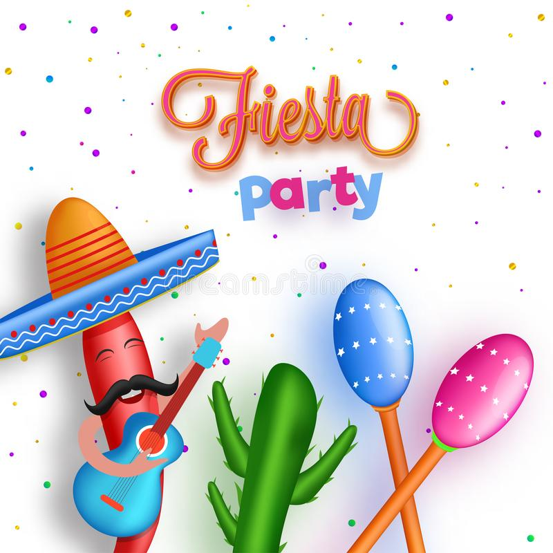 Conception d'insecte ou de bannière de partie de fiesta avec le personnage de dessin animé du ch illustration libre de droits