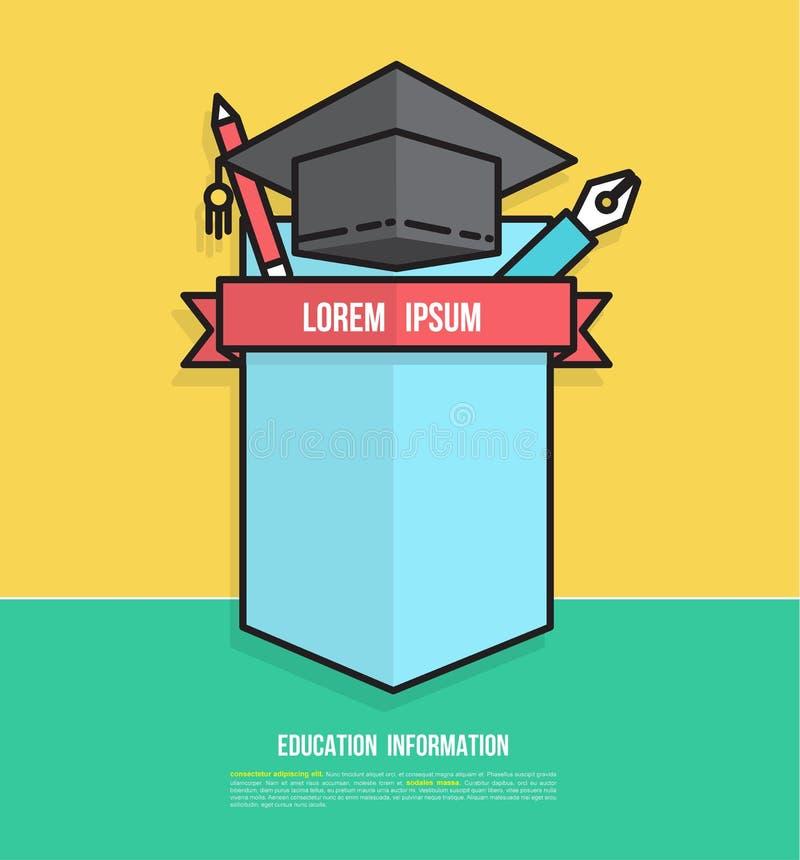 Conception d'insigne d'éducation pour créer le plan d'étude illustration de vecteur