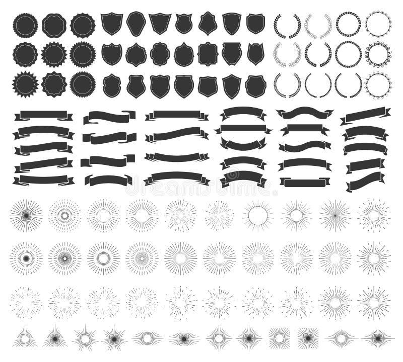 Conception d'insigne de hippie Rétro emblème, insignes de cru et collection de vecteur d'éléments de cadre de logo illustration de vecteur