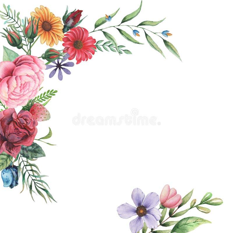 Conception d'invitation d'aquarelle avec le bouquet des fleurs Compositions florales peintes à la main d'isolement sur le fond bl illustration de vecteur