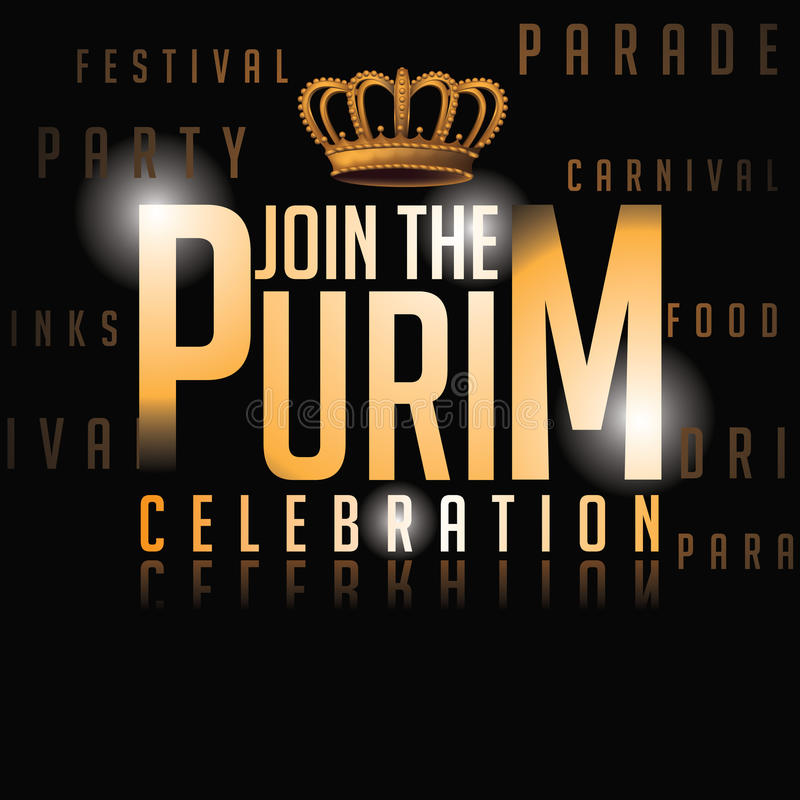 Conception d'invitation de fond de célébration de Purim illustration stock
