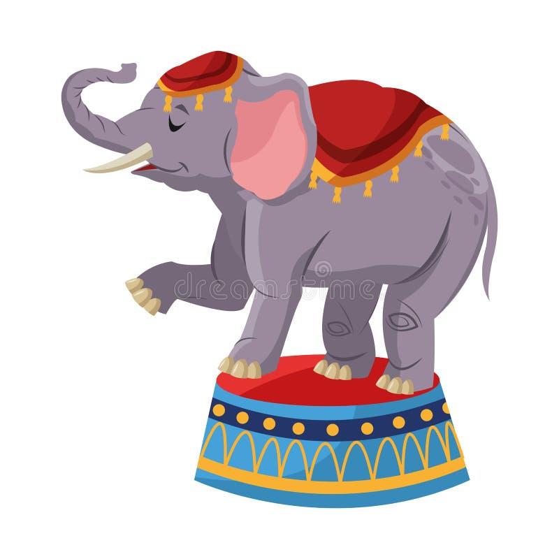 Conception d'isolement d'éléphant de cirque illustration libre de droits