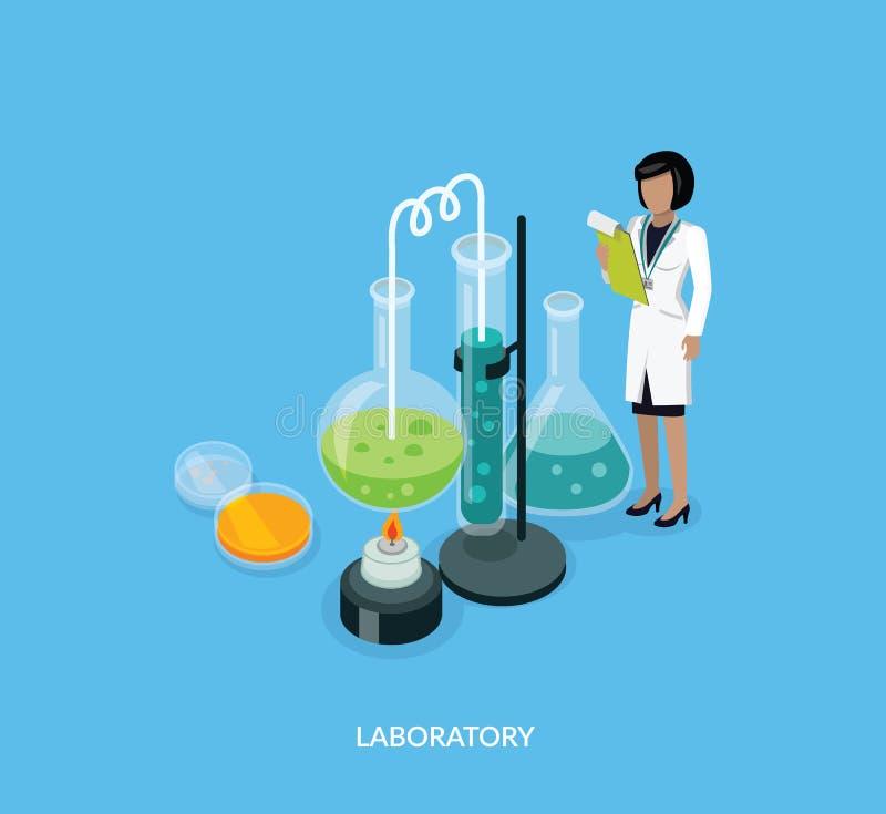 Conception d'Isomatric de laboratoire de la Science plate illustration de vecteur