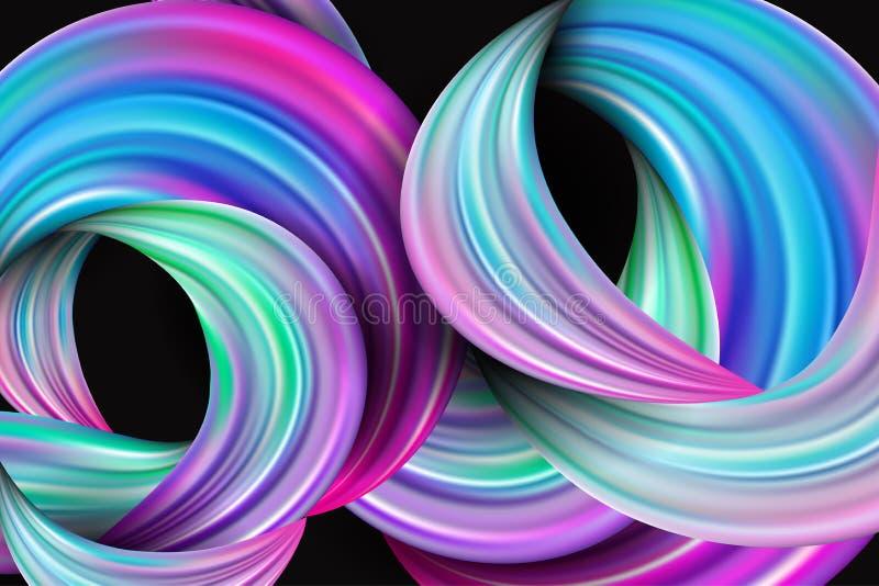 conception 3d liquide abstraite Twiste moderne coloré de backgroundwith illustration libre de droits
