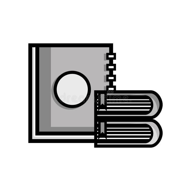 Conception d'objet de livres et de carnet d'éducation de gamme de gris illustration de vecteur