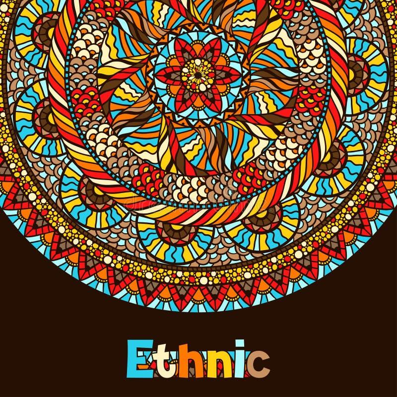Conception d'origine ethnique avec l'ornement tiré par la main illustration stock