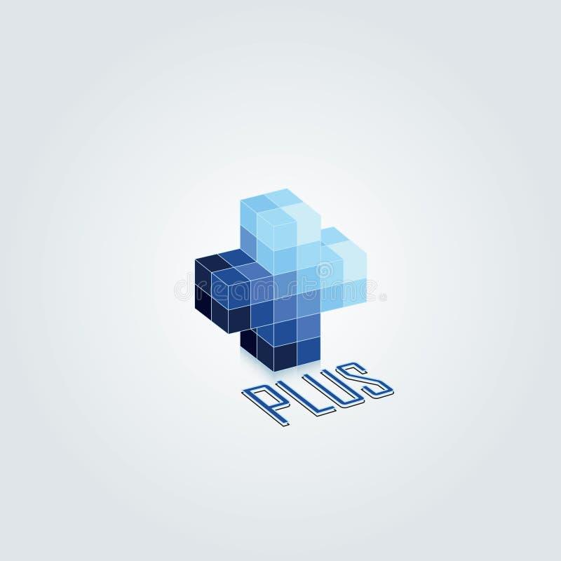 Conception 3d plus Conception monochromatique bleue de vecteur images stock