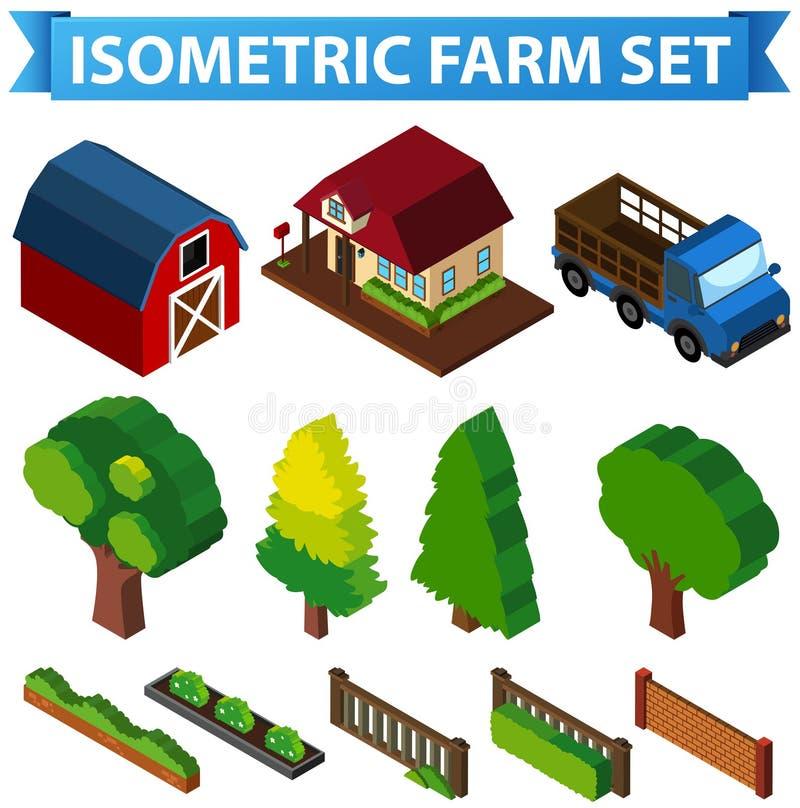 conception 3D pour la grange et les arbres illustration stock