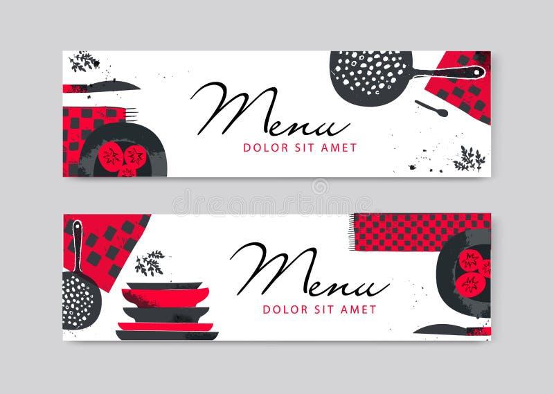 Conception de approvisionnement d'insecte de brochure de vecteur Cuisine tirée par la main artistique, bannières horizontales de  illustration stock