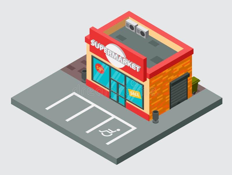 Conception de bâtiment de supermarché de ville de mail de boutique d'isolement par bâtiment isométrique de vecteur de supermarché illustration de vecteur