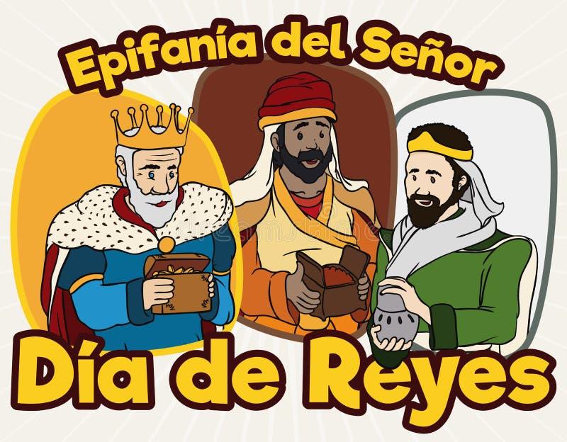 Conception de bande dessinée avec les trois Rois mages heureux célébrant Dia de Reyes, illustration de vecteur illustration libre de droits