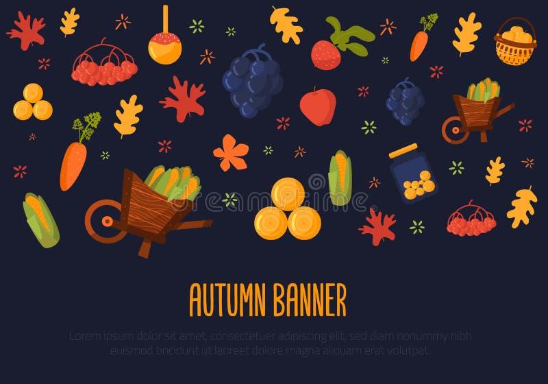 Conception de bannière d'Autumn Harvest avec le potiron, carotte, betterave, maïs Illustration de vecteur illustration de vecteur