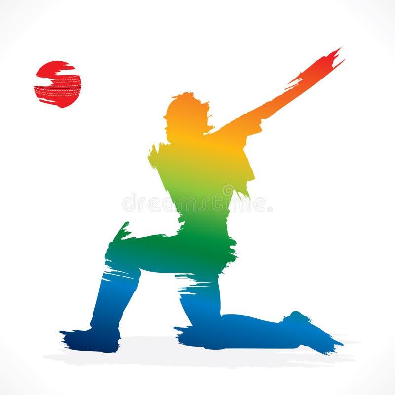 conception de bannière de joueur de cricket illustration libre de droits