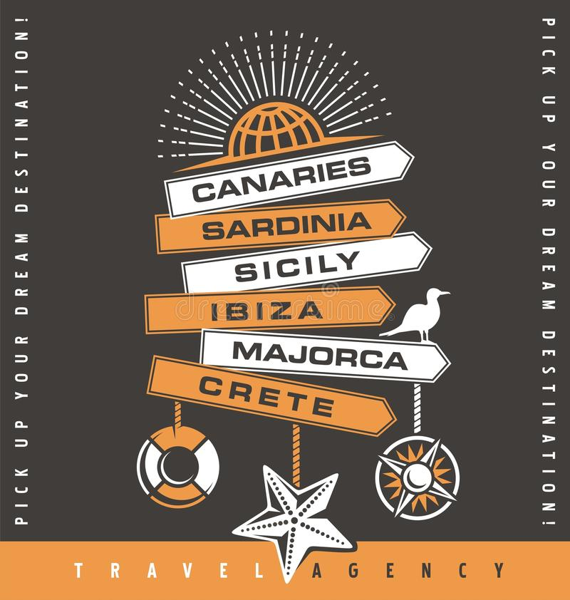 Conception de bannière de promotion d'agence de voyages illustration de vecteur