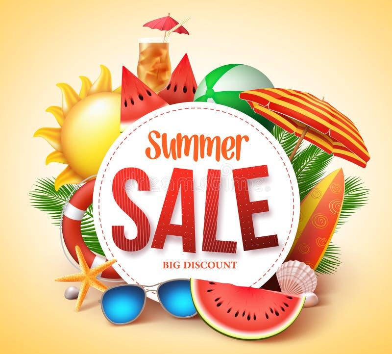 Conception de bannière de vecteur de vente d'été pour la promotion avec les éléments colorés de plage illustration de vecteur