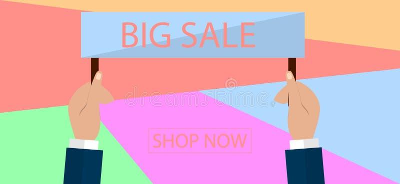 Conception de bannière de vente d'été pour la promotion avec des icônes d'achats illustration de vecteur