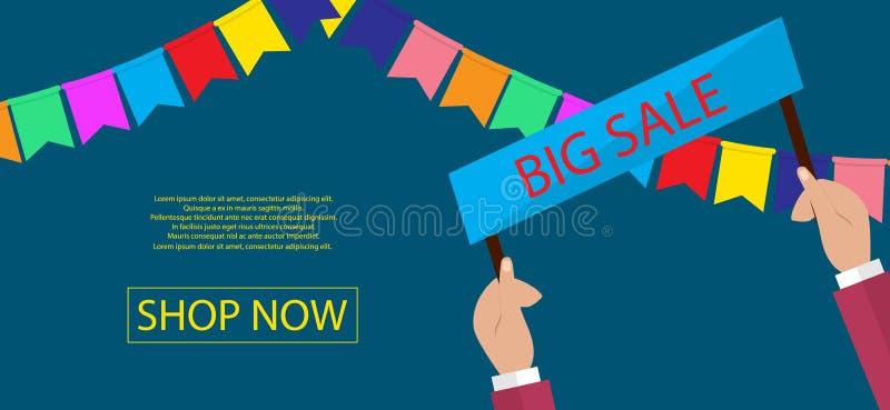Conception de bannière de vente d'été pour la promotion avec des icônes d'achats illustration libre de droits