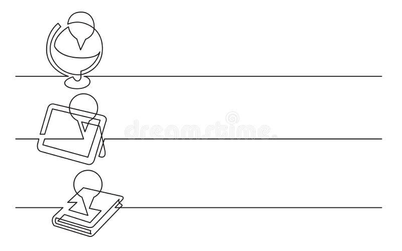 Conception de bannière - dessin au trait continu des icônes d'affaires : emplacement sur le globe, endroit sur le comprimé, livre illustration de vecteur