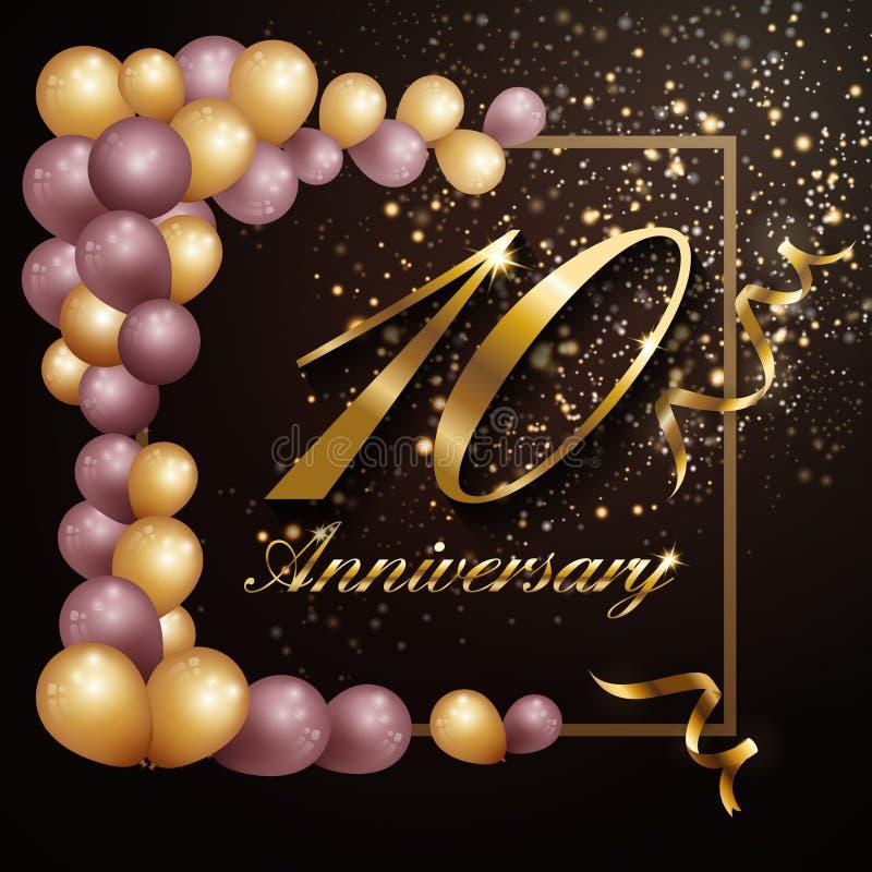 conception de bannière de fond de célébration d'anniversaire de 10 ans avec la décoration de luxe illustration libre de droits
