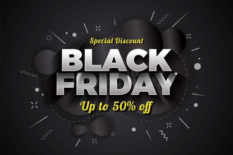 Conception de bannière de fond de remise spéciale de vente de Black Friday avec Metabal abstrait illustration de vecteur