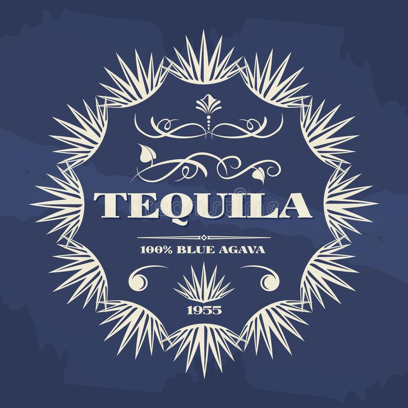 Conception de bannière ou d'affiche de tequila de vintage illustration libre de droits