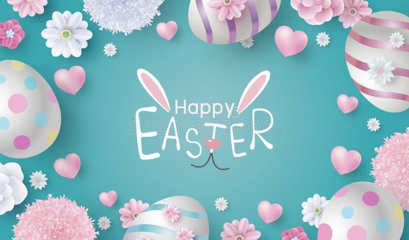 Conception de bannière de Pâques des oeufs et des fleurs sur l'illustration de vecteur de fond de papier de couleur illustration libre de droits