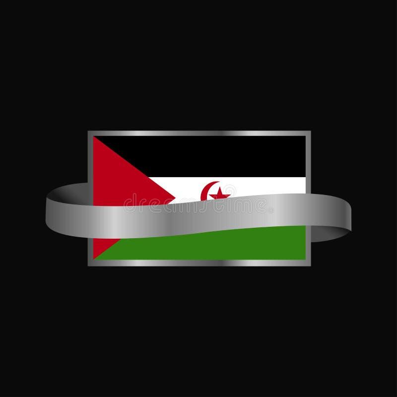 Conception de bannière de ruban de drapeau de la Sahara occidental illustration stock