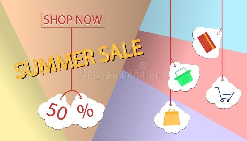 Conception de bannière de vente d'été pour la promotion avec des icônes d'achats illustration stock