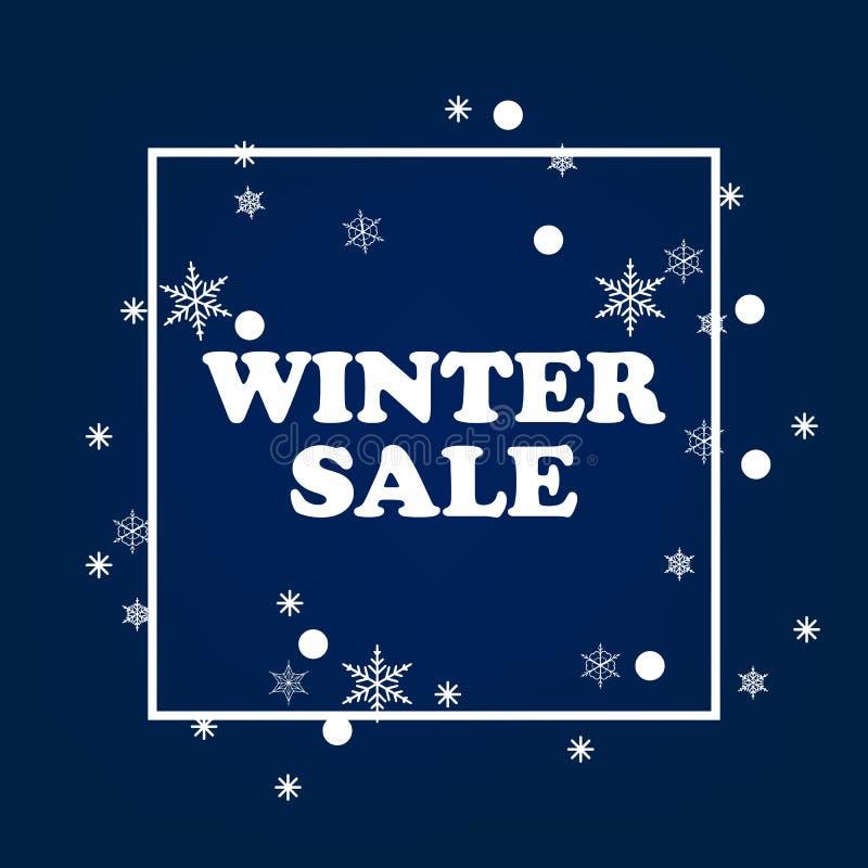 Conception de bannière de vente d'hiver pour la promotion avec des icônes d'achats illustration de vecteur