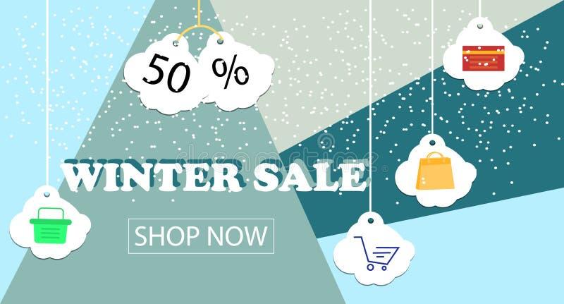 Conception de bannière de vente d'hiver pour la promotion avec des icônes d'achats illustration stock
